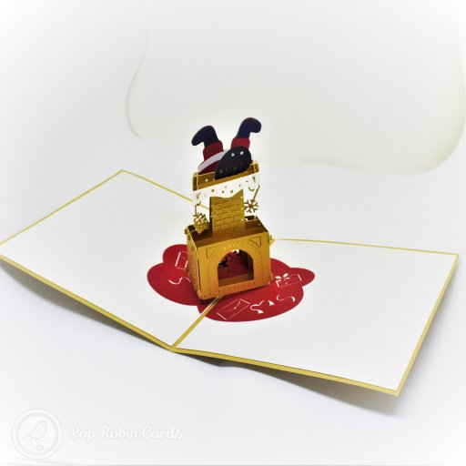 Santa Stuck In The Chimney Handmade 3D Pop-Up Funny Christmas Card #2705