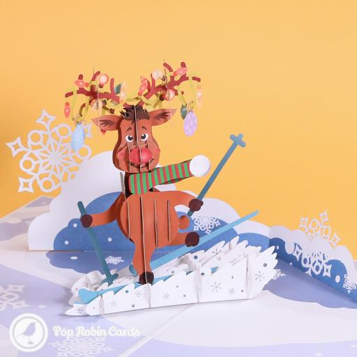 Skiing Rudolf Funny 3D Pop Up Christmas Card 3D Pop Up Card