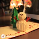 Snow Man & Tree Handmade 3D Pop-Up Christmas Card #2382