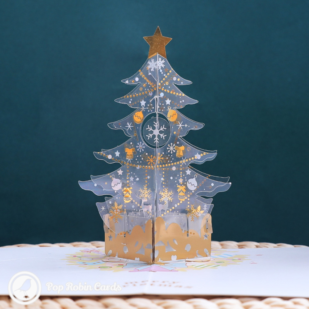 Snowflake Christmas Tree 3D Handmade Pop Up Card #3583