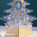 Snowflake Christmas Tree 3D Handmade Pop Up Card #3585