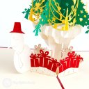 Snowman & Christmas tree & Presents 3D Pop-Up Greeting Card  1781
