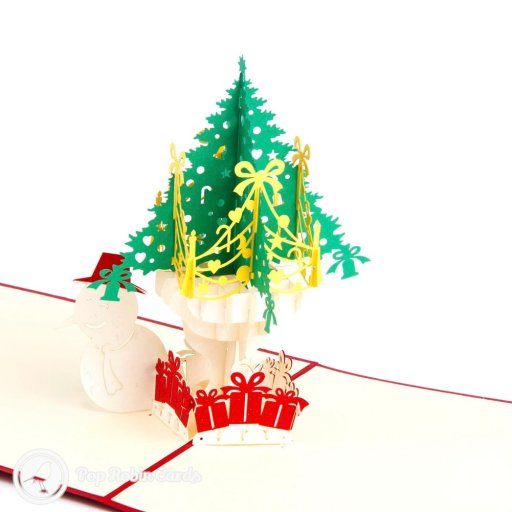 "This 3D pop-up Christmas card is bright and cheerful, showing a colorfully decorated Christmas tree and a snowman wearing a hat. The cover has a stenciled ""Merry Christmas"" message."
