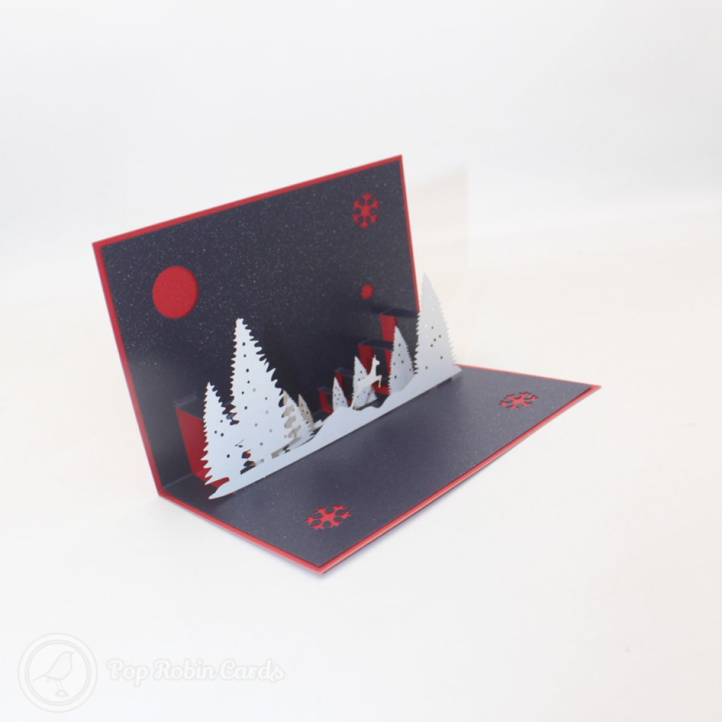 Snowy Forest At Night 3D Handmade Card #3463