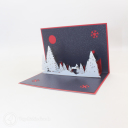 Snowy Forest At Night 3D Handmade Card #3467