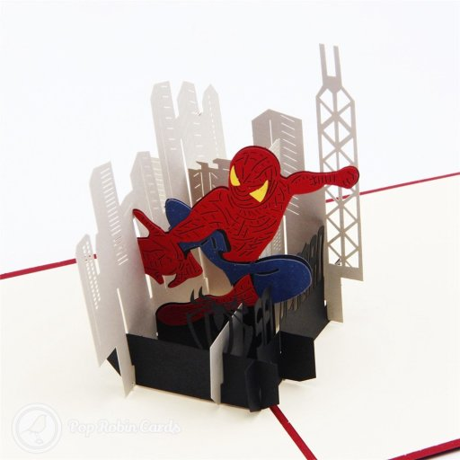 This amazing greetings card opens to reveal Spider Man swinging between city scrapers in a 3D pop-up design. The bright red cover also shows the famous superhero in a stencil design.