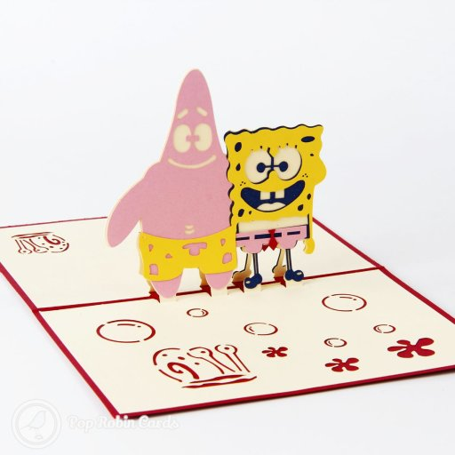 This cute card opens to reveal a 3D pop-up design showing Spongebob Square Pants with his friend Patrick Star the starfish. The cover has a stencil design showing the same two characters.