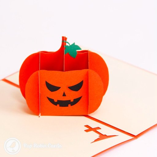 This creepy card is perfect for Halloween with its 3D pop-up design showing a grinning pumpkin jack-o'-lantern. The cover has a stencil design showing a cackling Halloween pumpkin in bright orange.