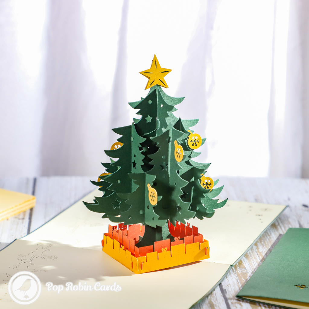 Star And Baubles Christmas Tree 3D Pop Up Christmas Card #3435
