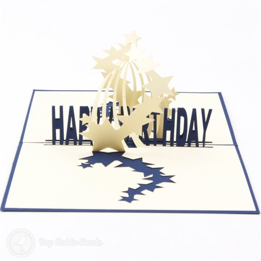 "This exciting birthday card opens to reveal an amazing 3D pop-up design with a stream of stars bursting over the words ""Happy Birthday""."