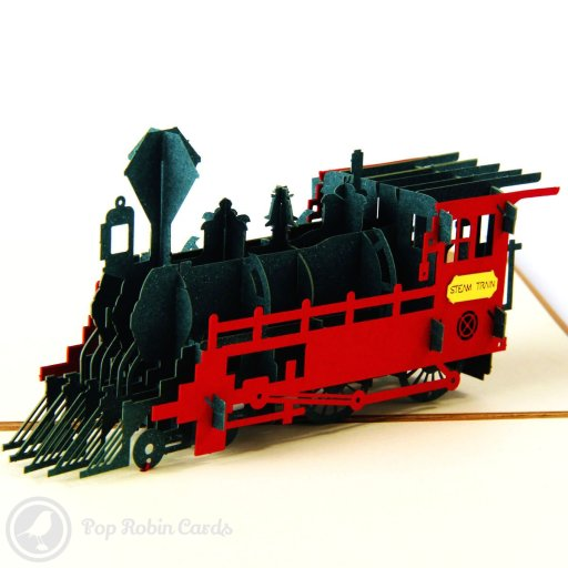 Choo choo, all aboard! This beautiful card is sure to delight with its 3D pop up steam train design.