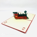 Steam Train With Red Cover 3D Pop Up Card #3679