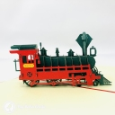 Steam Train With Red Cover 3D Pop Up Card #3681