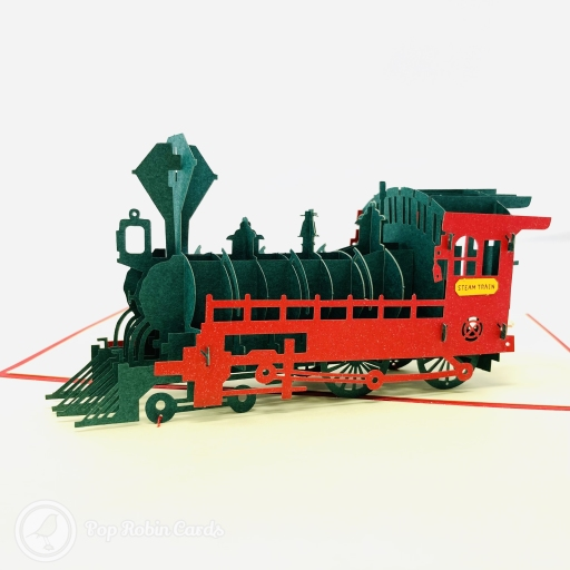 This striking greetings card opens to reveal a 3D pop-up design showing a bright red stream train depicted in detail. The cover has a stencil design showing the steam train from the side.
