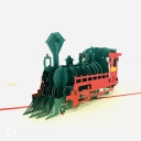 Steam Train With Red Cover 3D Pop Up Card #3683