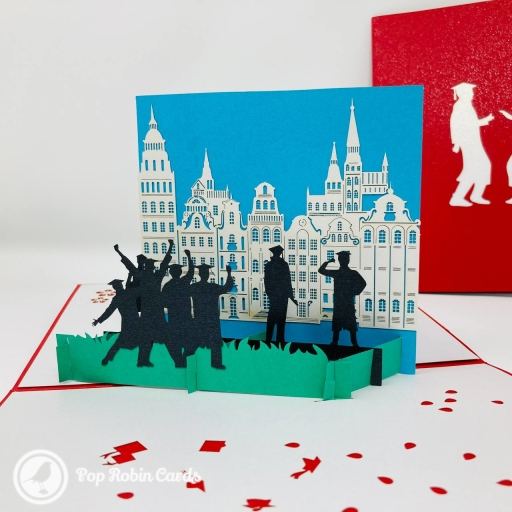 Students Celebrating Graduation 3D Pop-Up Card