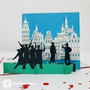 Students Celebrating Graduation 3D Pop Up Card #3864