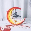 Swing Under Crescent Moon Handmade 3D Card #3342