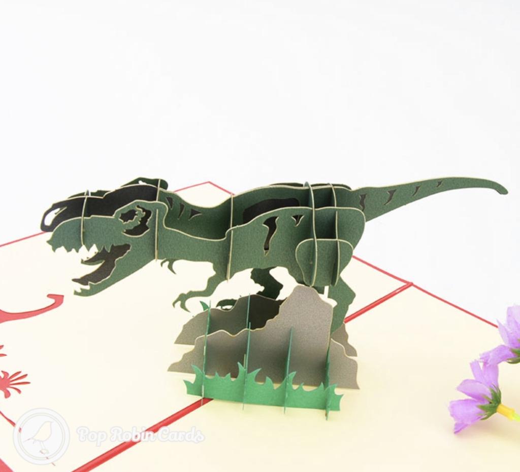 Roaring T-Rex Dinosaur 3D Handmade Pop Up Card #3212