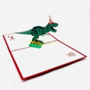 T-Rex Dinosaur With Party Hat 3D Pop Up Funny Bithday Card #3698