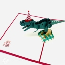 T-Rex Dinosaur With Party Hat 3D Pop Up Funny Bithday Card #3700
