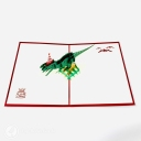 T-Rex Dinosaur With Party Hat 3D Pop Up Funny Bithday Card #3701