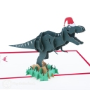 T-Rex Dinosaur With Christmas Hat Handmade 3D Pop-Up Funny Christmas Card #2874