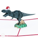T-Rex Dinosaur With Christmas Hat Handmade 3D Pop-Up Funny Christmas Card #2875