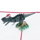 T-Rex Dinosaur With Christmas Hat Handmade 3D Pop-Up Funny Christmas Card #2876