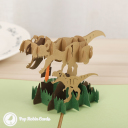 T-Rex Dinosaur With Tie And Baby T-Rex 3D Pop Up Card #3768