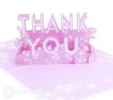 Floral Pink Thank You Handmade 3D Pop Up Card #2970