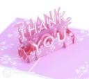 Floral Pink Thank You Handmade 3D Pop Up Card #2974