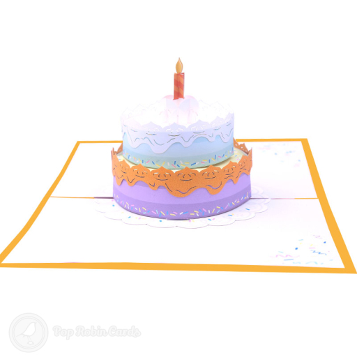 This beautiful and stylish birthday card opens to reveal a 3D pop birthday cake design in lovely colours. The cover also has an elegant tiered birthday cake design.