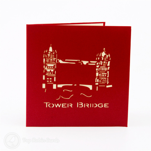 This impressive greetings card opens to reveal an amazing 3D pop-up design depicting London's famous Tower Bridge in brilliant detail. Available in a range of colours, this card is sure to bring joy to any architecture enthusiast.