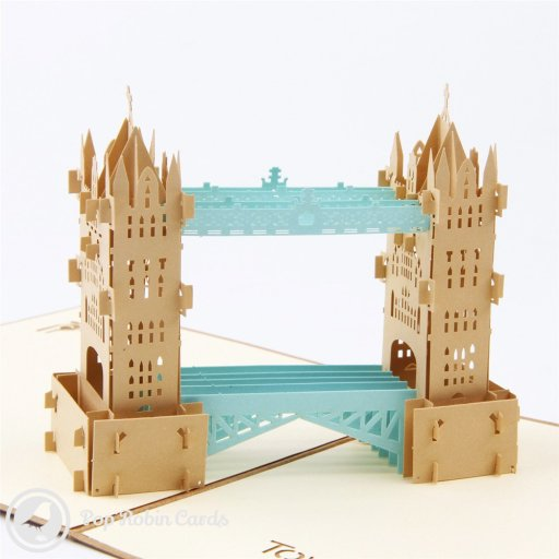 This amazing card is sure to impress any architecture enthusiast with its 3D pop-up design showing London's iconic Tower Bridge. Both towers and the bridge itself are depicted in 3D detail, and the building also appears on the cover in a stencil design.