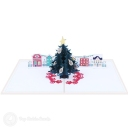 Town Square Christmas Tree 3D Pop-Up Christmas Card #2840