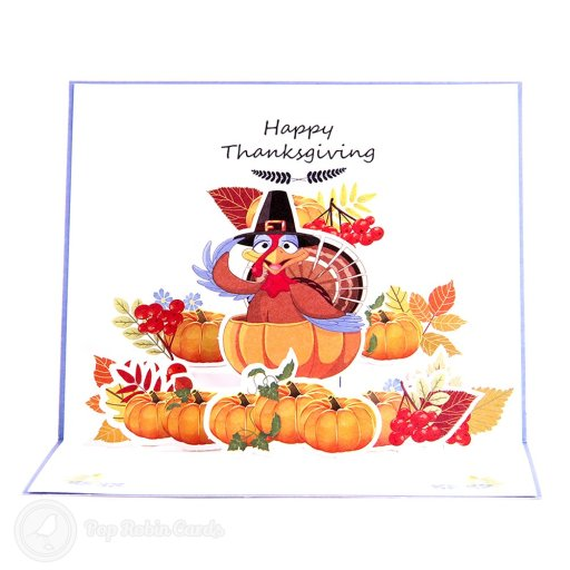 "This 3D pop-up card is perfect for Thanksgiving with its colourful 3D design showing a turkey, pumpkins and autumnal fruits and plants. The cover has a ""Thanksgiving"" message."