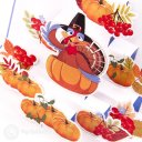 Turkey & Pumpkins Handmade 3D Pop-Up Thanksgiving Card #2196