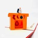 Warm Christmas Hearth 3D Handmade Pop Up Christmas Card #3603