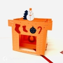 Warm Christmas Hearth 3D Handmade Pop Up Christmas Card #3705