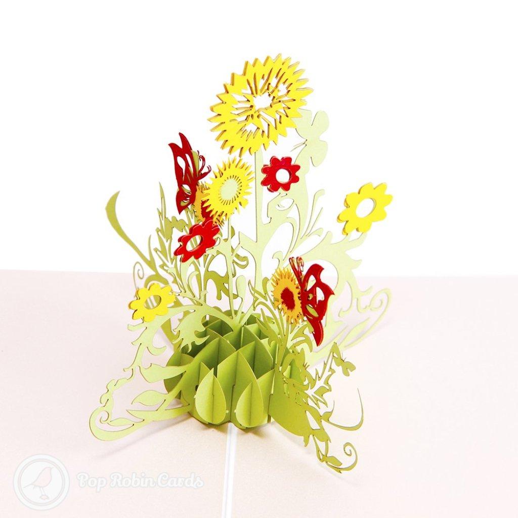 Water Colour Sun Flower 3D Pop Up Greetings Card 1833