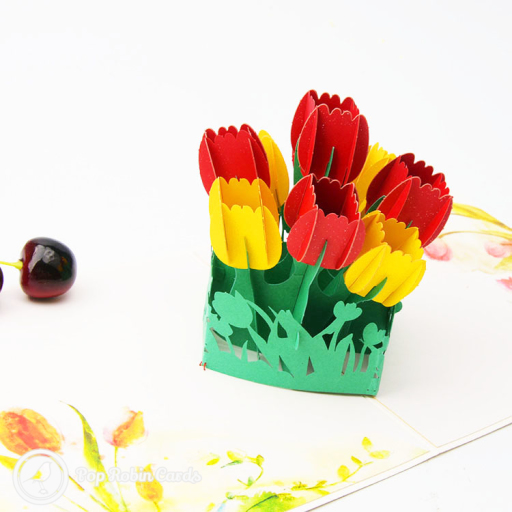 This beautiful card has a 3D pop up design showing a bunch of tulip flowers. The cover has a colourful abstract design showing tulips.