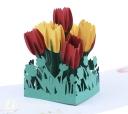 Watercolour Tulips Handmade 3D Pop Up Card #2982