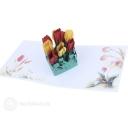 Watercolour Tulips Handmade 3D Pop Up Card #2983
