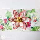 Watercolour Water Lily 3D Pop Up Greetings Card #3645