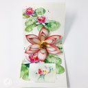 Watercolour Water Lily 3D Pop Up Greetings Card #3649