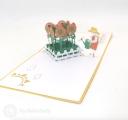 Watering Sunflowers Handmade 3D Pop Up Card #3400
