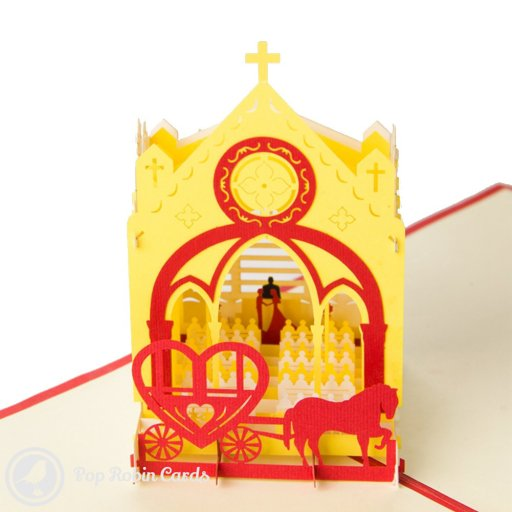 This card opens to reveal a 3D pop-up church on a wedding day, with the bridge and groom at the altar, pews and a horse-drawn carriage outside.