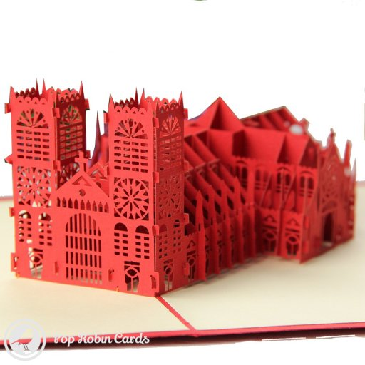 This amazing architectural card opens to reveal a huge 3D pop-up design showing the famous Westminster Abbey in intricate detail. Both towers and numerous small details are depicted, and it's sure to delight any architecture enthusiast. The cover also shows Westminster Abbey in a stencil design.