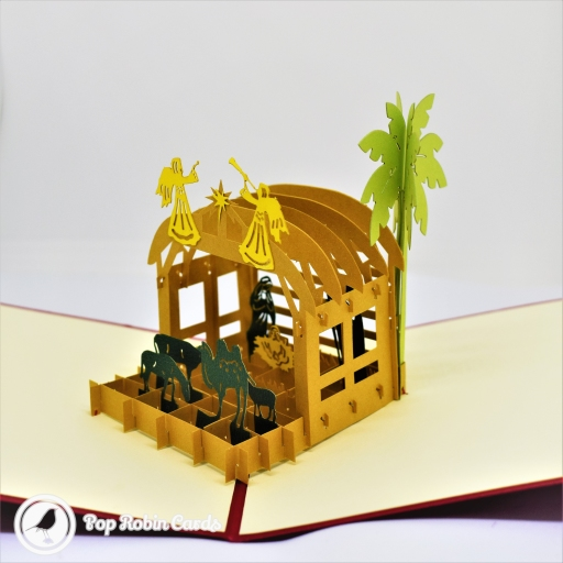 Wise Men In Stable Nativity Scene 3D Pop-Up Christmas Card #2754